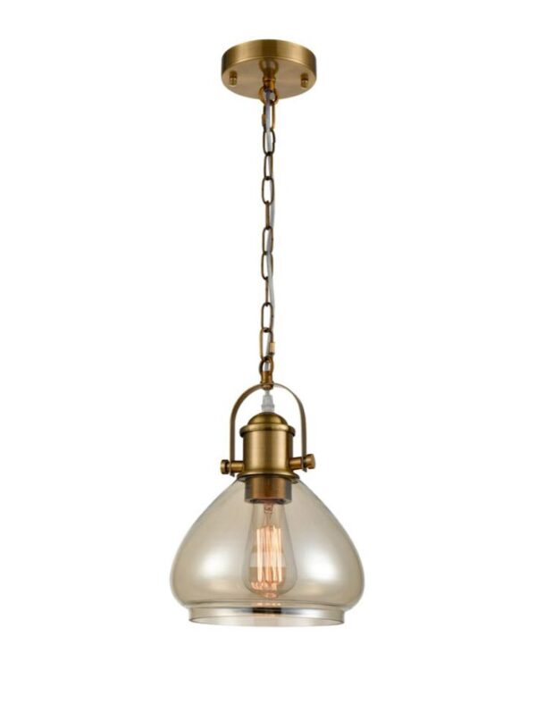 Industrial Style Amber Glass Chain Pendant Ceiling Light Antique Gold