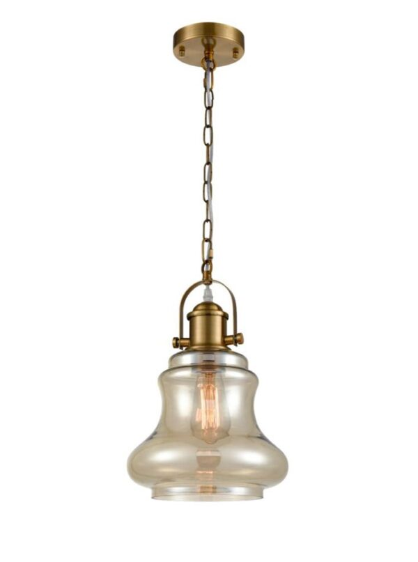 Classic Amber Bell Glass Single Chain Pendant Ceiling Light Antique Gold