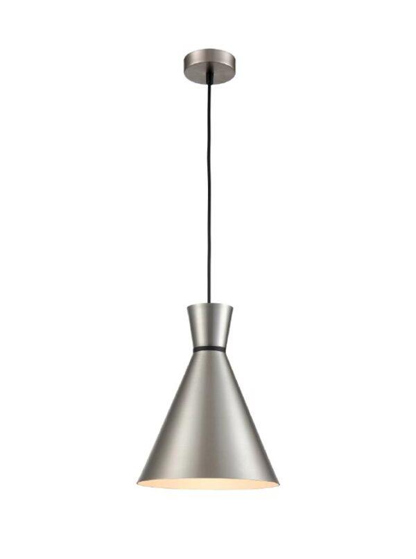 Classic Single 1 Light 25cm Metal Cone Ceiling Pendant Satin Nickel