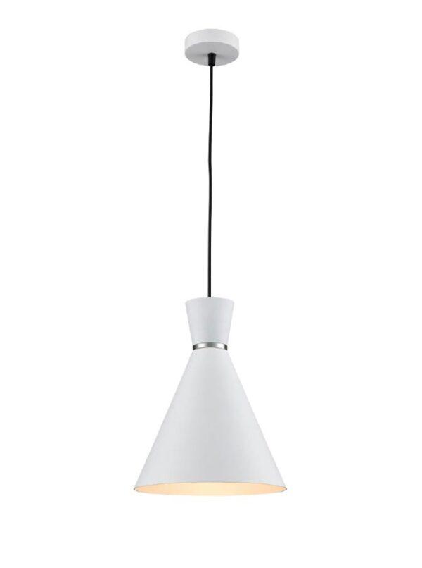 Classic Single 1 Light 25cm Metal Cone Ceiling Pendant Satin White