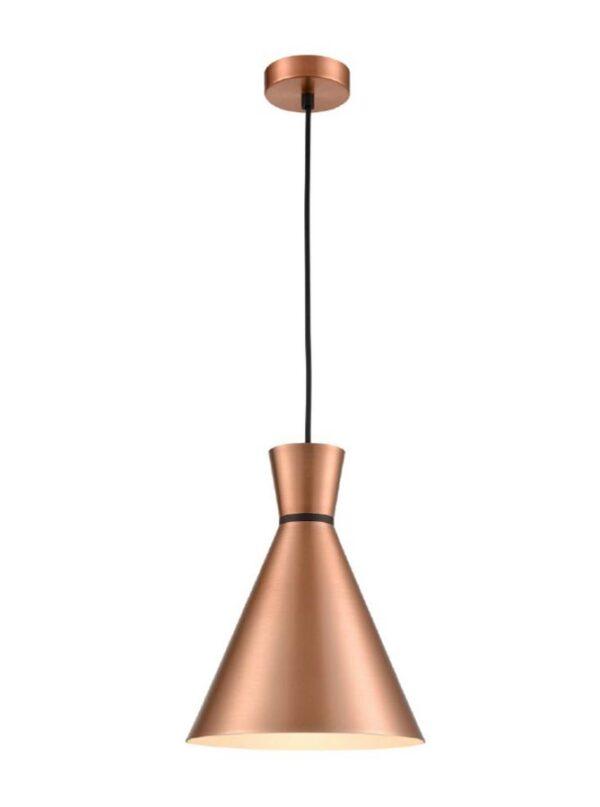 Classic Single 1 Light 25cm Metal Cone Ceiling Pendant Satin Copper