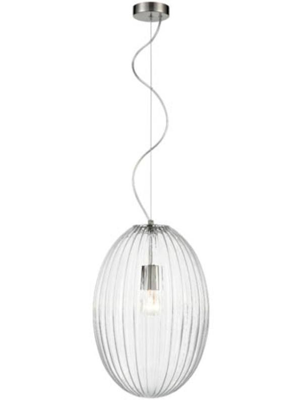 Traditional 30cm Clear Ribbed Glass 1 Light Ceiling Pendant Satin Nickel