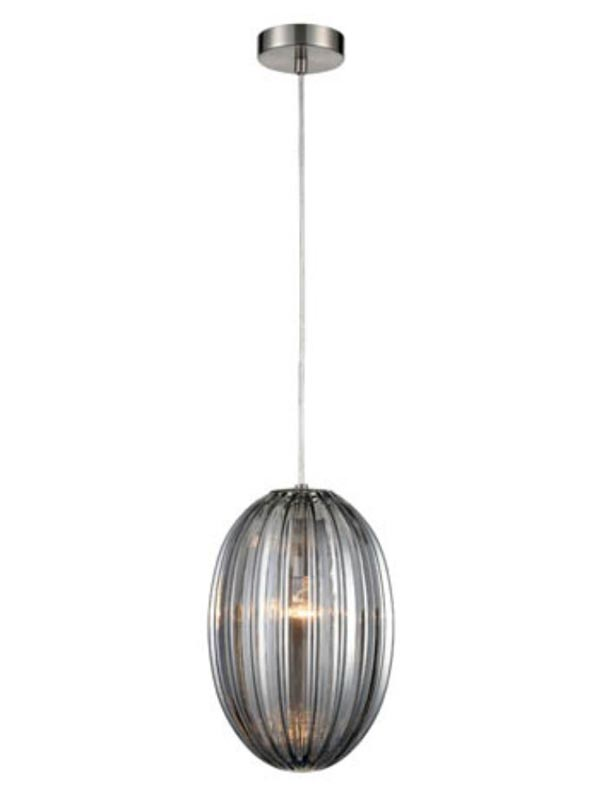 Traditional 20cm Smoked Ribbed Glass 1 Light Ceiling Pendant Satin Nickel