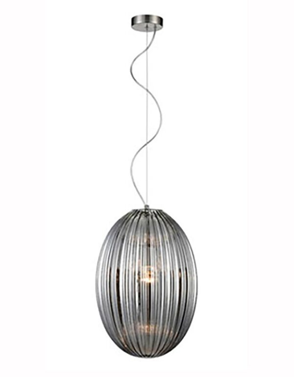 Traditional 30cm Smoked Ribbed Glass 1 Light Ceiling Pendant Satin Nickel