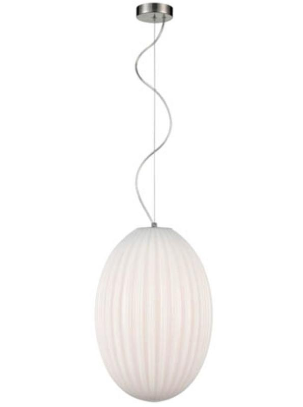 Traditional 30cm Ribbed Opal Glass 1 Light Ceiling Pendant Satin Nickel
