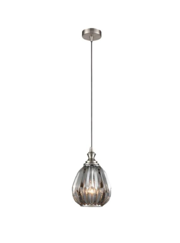 Classic 18cm Ribbed Smoked Glass 1 Light Ceiling Pendant Satin Nickel