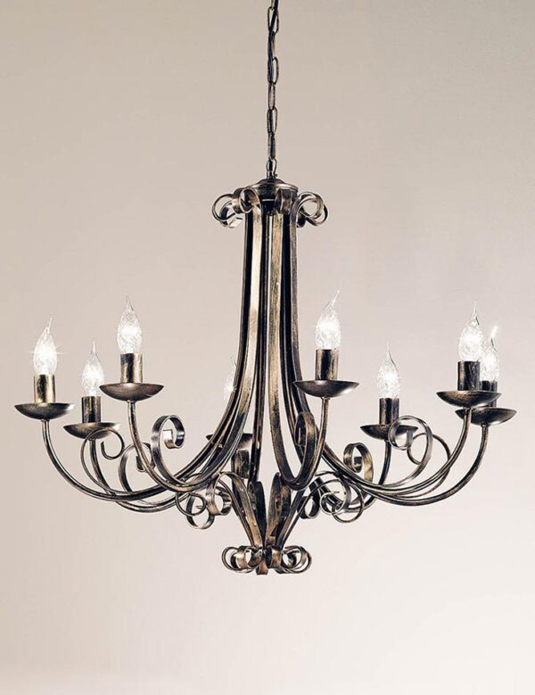 Italian Scrolled Ironwork 8 Light Chandelier Brushed Autumn Colours
