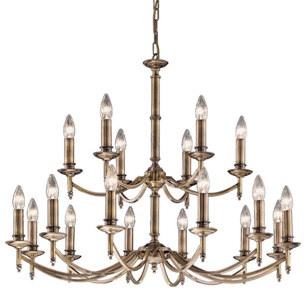 Classic Quality 18 Light 2-Tier Large Traditional Chandelier Bronze Finish