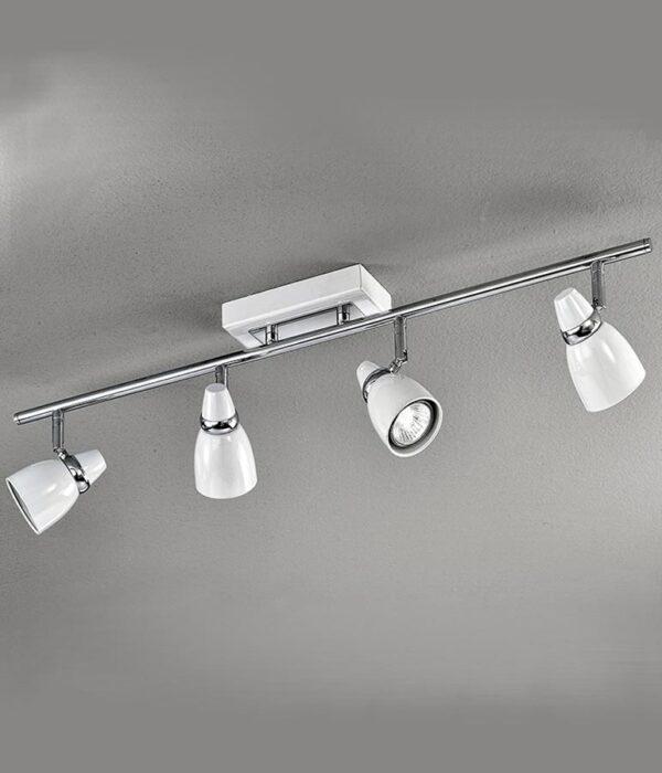 High Quality Adjustable 4 Light Ceiling Spot Light Bar White / Chrome