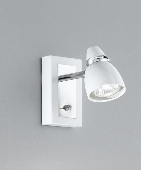High Quality Adjustable 1 Light Switched Wall Spot Light White / Chrome