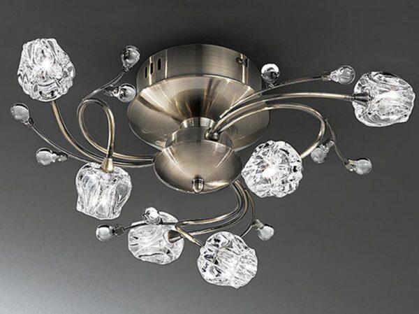 Franklite FL2169/6 Podette 6 light flush ceiling light in bronze finish
