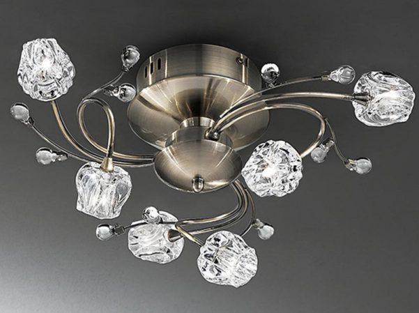 Franklite Podette 6 Light Flush Ceiling Light Bronze Clear Glass