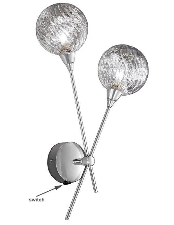 Contemporary 2 Lamp Wall Light Polished Chrome Textured Glass Globes