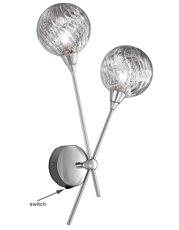 Franklite FL2329/2 Protea twin switched wall light polished chrome textured glass spheres