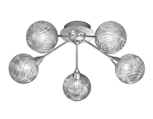 Contemporary 5 Lamp Flush Ceiling Light Chrome Textured Glass Globes