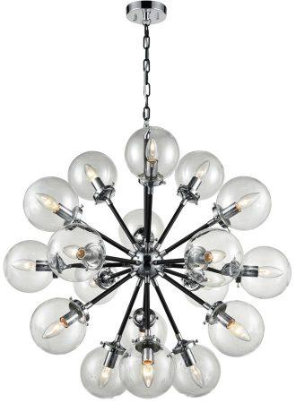 Franklite Reaction 18 Light Large Pendant Black & Chrome Glass Globes