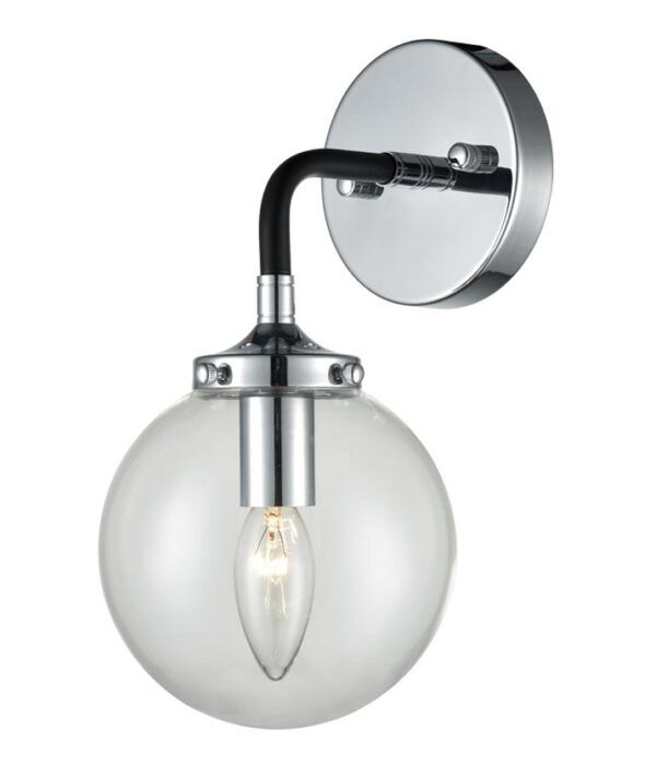 Franklite FL2369/1 Reaction single wall light matt black polished chrome glass globe
