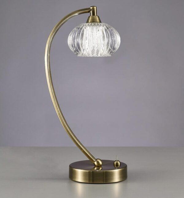 Franklite TL988 Ripple 1 light table lamp in bronze finish with ribbed glass