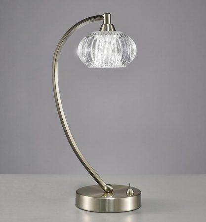 Franklite Ripple 1 Light Table Lamp Satin Nickel Ribbed Glass