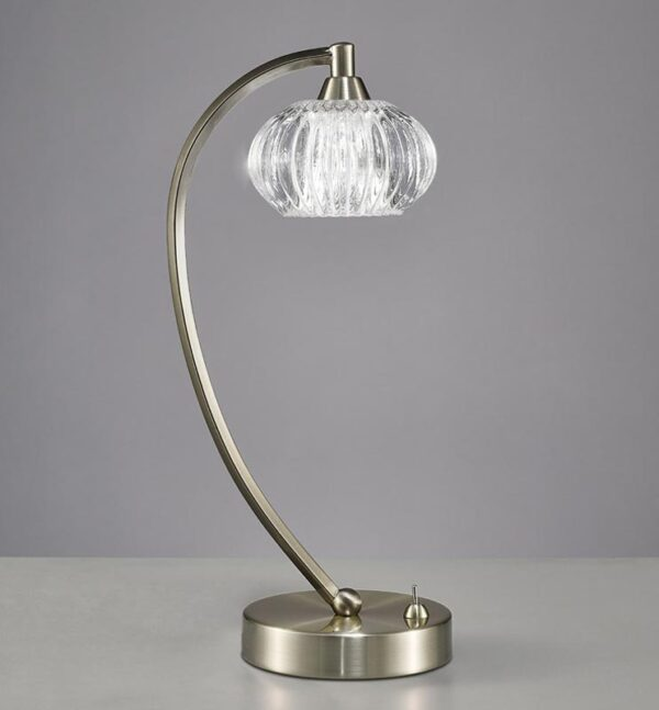 Franklite TL987 Ripple 1 light table lamp in satin nickel with ribbed glass