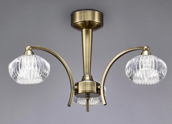 Franklite FL2336/3 Ripple 3 arm semi flush ceiling light in bronze with ribbed glass