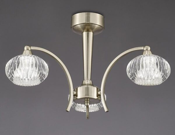 Franklite FL2335/3 Ripple 3 arm semi flush ceiling light in satin nickel with ribbed glass