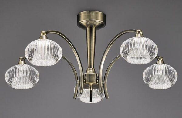 Franklite FL2336/5 Ripple 5 arm semi flush ceiling light in bronze with ribbed glass