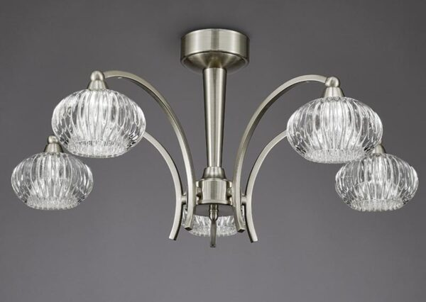 Franklite FL2335/5 Ripple 5 arm semi flush ceiling light in satin nickel with ribbed glass