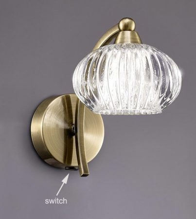 Franklite Ripple Single Switched Wall Light Bronze Ribbed Glass