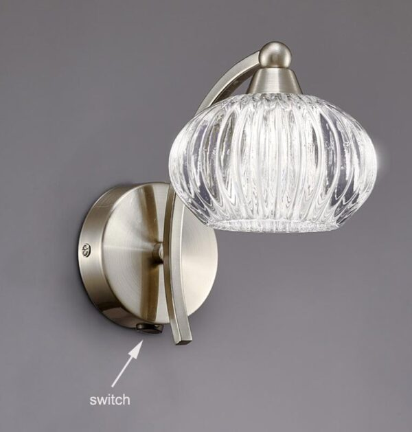 Franklite FL2335/1 Ripple single switched wall light in satin nickel with ribbed glass