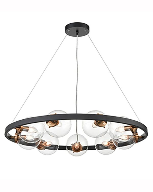 Industrial Style 9 Light Circular Ceiling Pendant Black / Gold Clear Glass