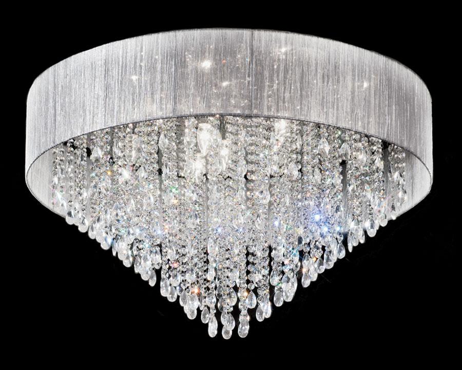 Art Deco Style 10 Lamp Flush Crystal Ceiling Light Chrome Silver Shade