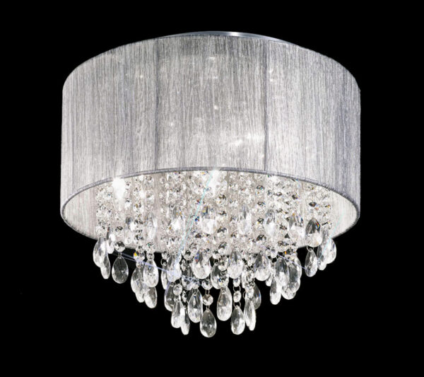 Contemporary 4 Lamp Flush Crystal Ceiling Light Chrome Silver Shade