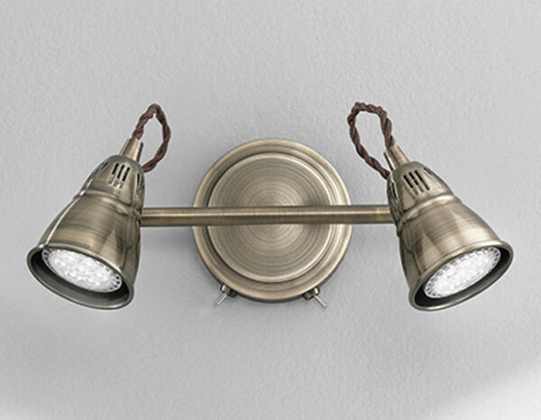 Quality Adjustable 2 Lamp Switched Rustic Wall Spot Light Bronze Finish