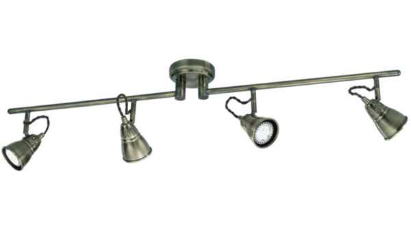 Quality Adjustable 4 Lamp Rustic Ceiling Spot Light Bar Bronze Finish