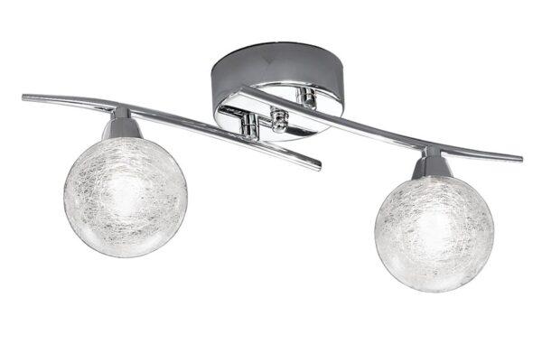 Contemporary 2 Lamp Flush Ceiling / Wall Light Chrome Spun Glass
