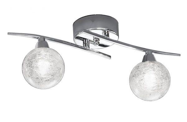 Franklite Shardice 2 Light Flush Mount Ceiling Or Wall Light Chrome