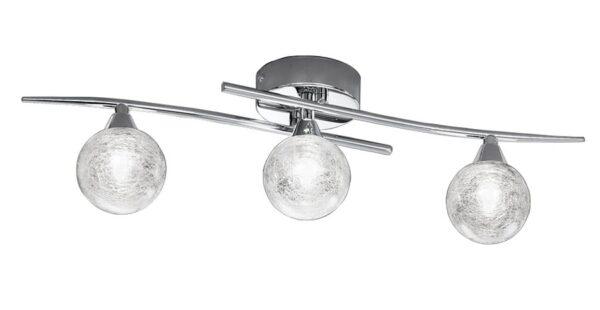 Contemporary 3 Lamp Flush Ceiling Light Chrome Spun Glass Shades