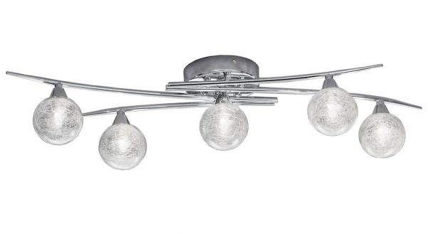 Franklite Shardice 5 Light Flush Mount Ceiling Light Chrome Spun Glass
