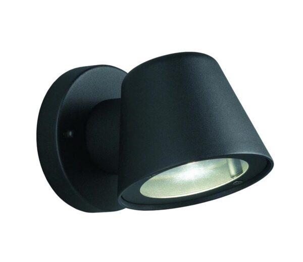 Modern 1 Light Small Outdoor Wall Down Spot Light Black IP44