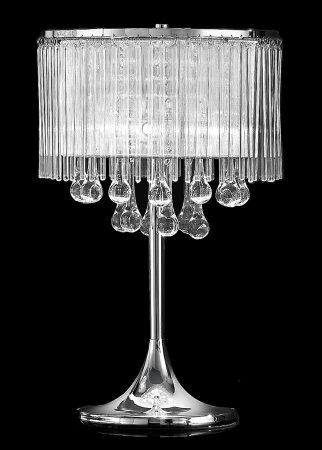 Franklite Spirit 3 Light Table Lamp Chrome Crystal Glass