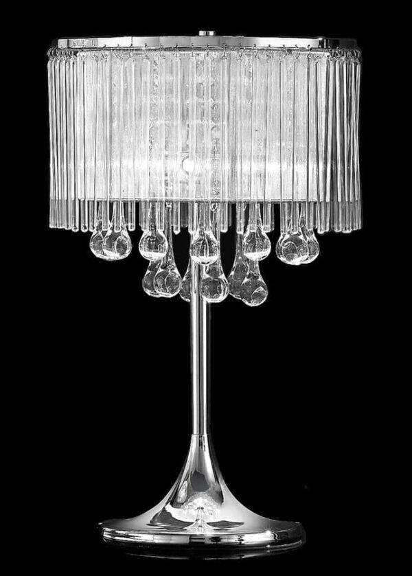 Stunning 3 Light Table Lamp Chrome Lurex Shade Glass Rods Crystal