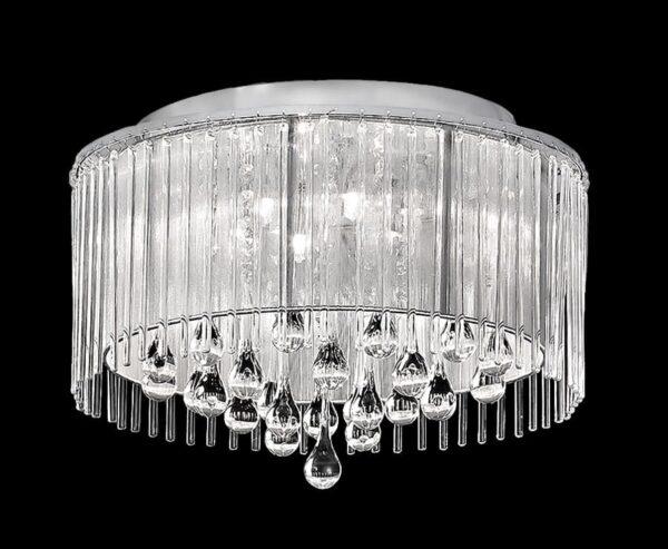 Franklite Spirit 6 Light Flush Ceiling Light Chrome Crystal Glass
