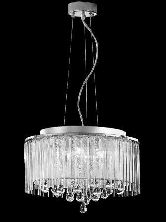 Franklite Spirit 6 Light Ceiling Pendant Chrome Crystal Glass
