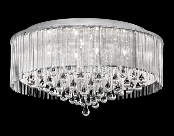 Franklite Spirit 8 Light Flush Ceiling Light Chrome Crystal Glass