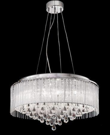 Franklite Spirit 8 Light Ceiling Pendant Chrome Crystal Glass