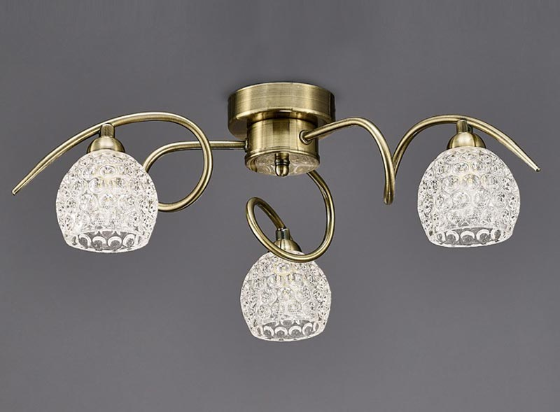 Franklite FL2348/3 Springa 3 light semi flush ceiling light in bronze with dimpled glass shades