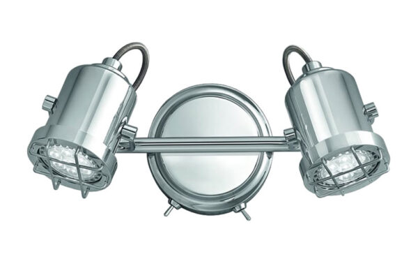 Quality Adjustable 2 Lamp Switched Industrial Wall Spot Light Chrome