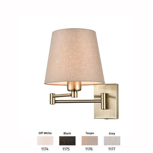 Switched Dual Hinged Swing Arm Wall Light Bronze Shade Choice