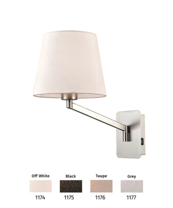 Switched Swing Arm Wall Light USB Port Satin Nickel Shade Choice